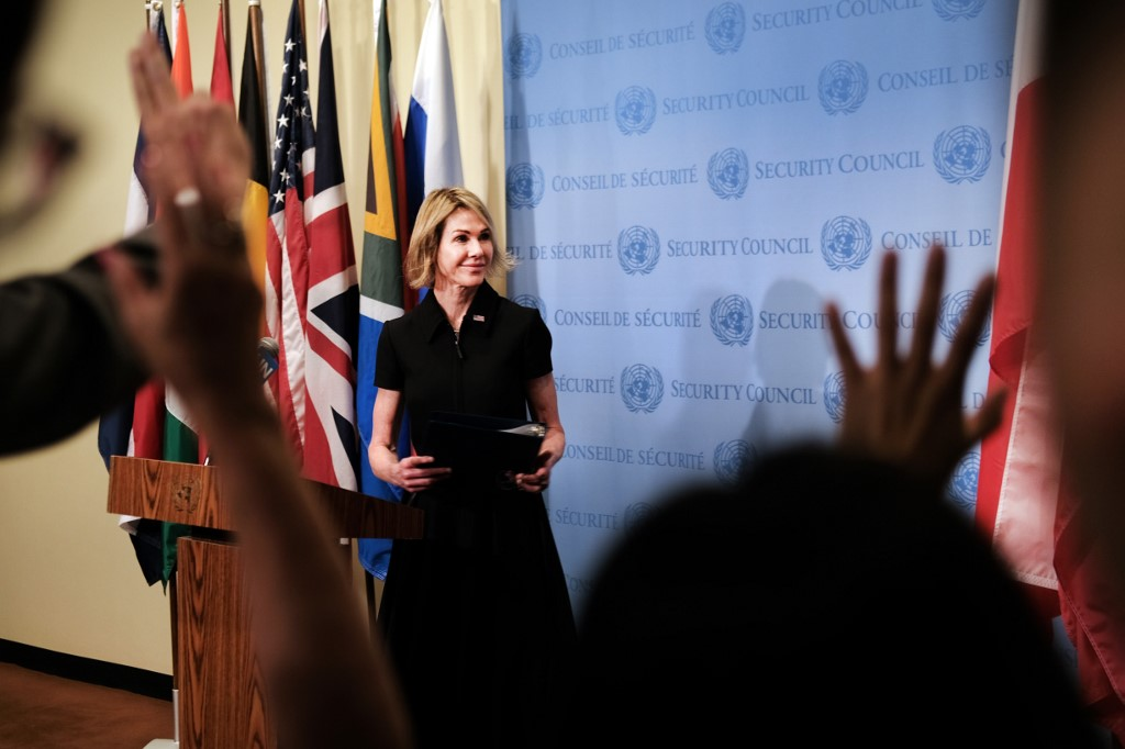 NEW AMBASSADOR. The new US Ambassador to the United Nations, Kelly Craft, declines to take questions from the reporters after speaking to the media at the UN headquarters on September 12, 2019 in New York City. Photo by Spencer Platt/Getty Images/AFP