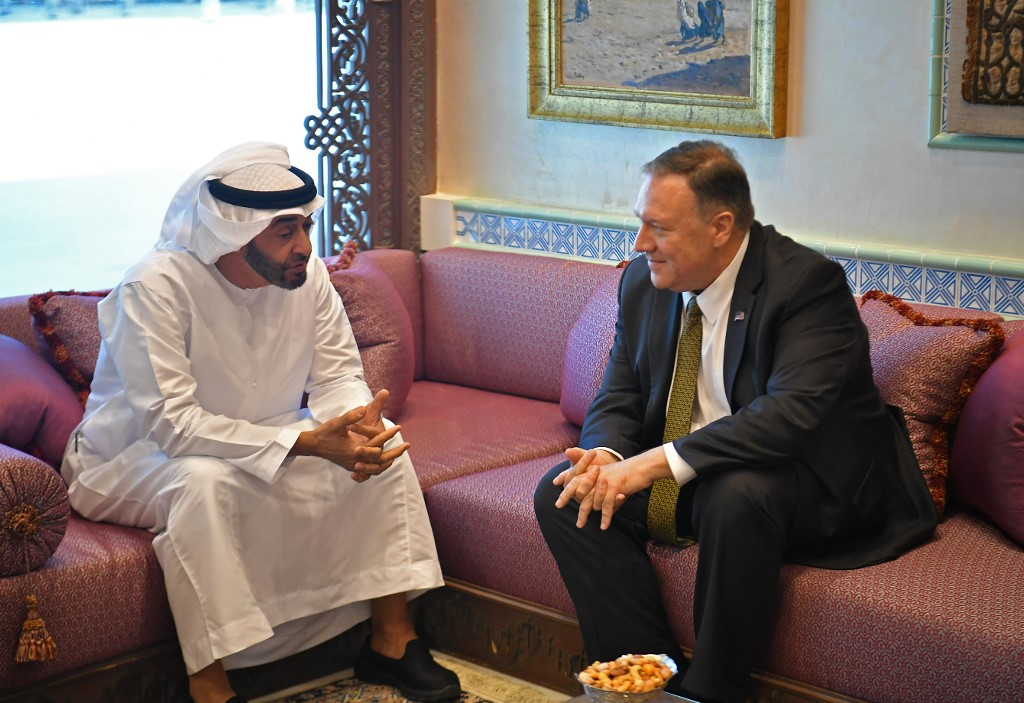 'PEACEFUL RESOLUTION.' US Secretary of State Mike Pompeo (R) takes part in a meeting with Abu Dhabi Crown Prince Mohamed bin Zayed al-Nahyan in Abu Dhabi, United Arab Emirates, on September 19, 2019. Photo by Mandel Ngan/Pool/AFP