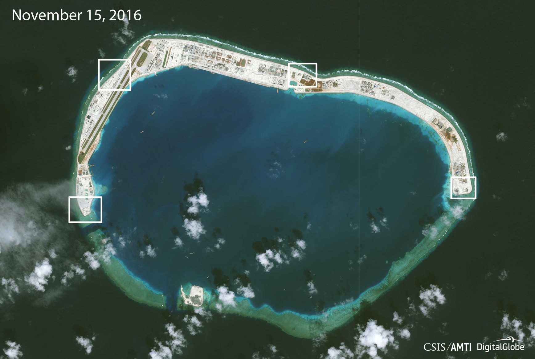 Structures seen on a satellite image of Mischief Reef on November 15, 2016, released December 13, 2016. Image courtesy CSIS Asia Maritime Transparency Initiative/DigitalGlobe/Handout