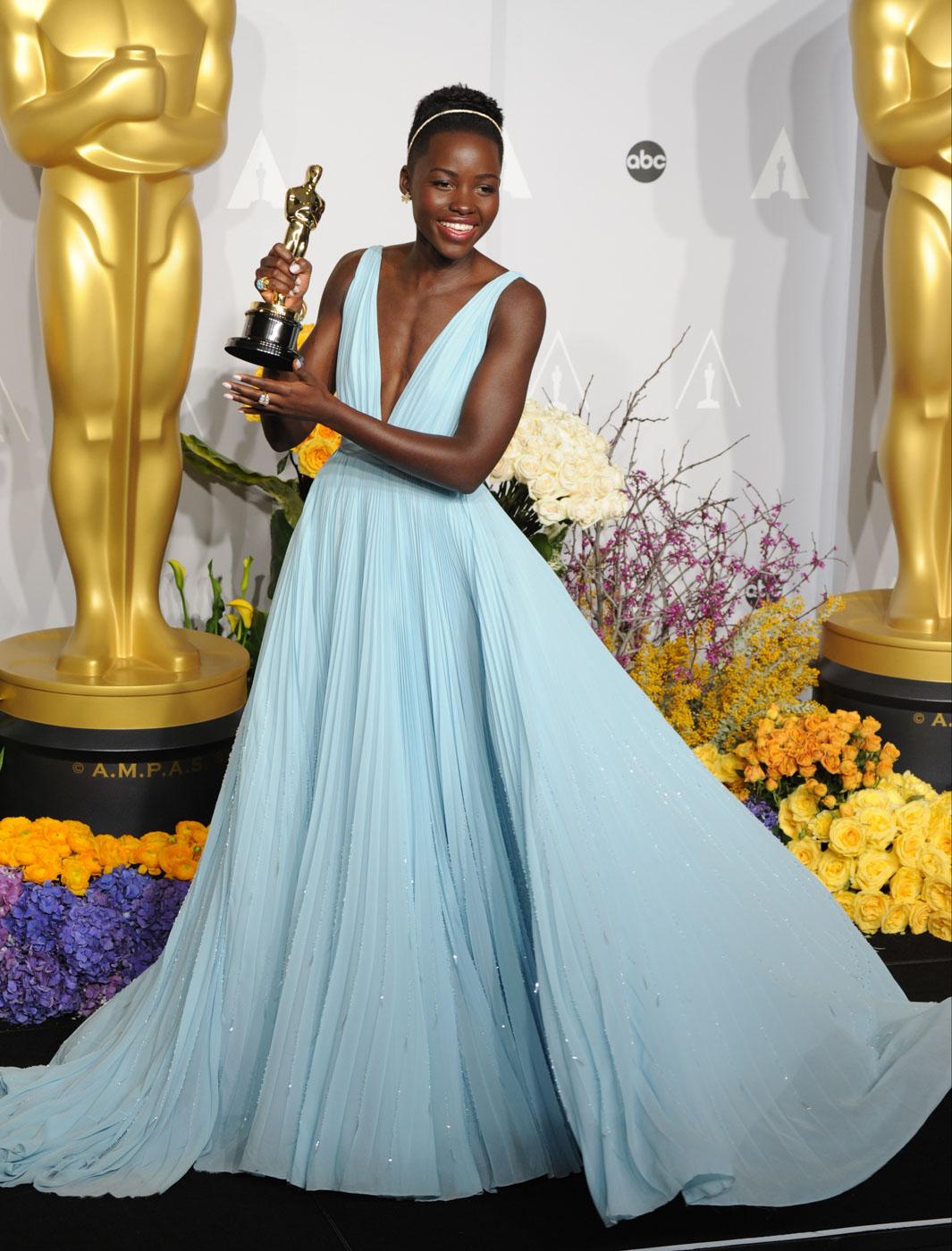GODDESS. Lupita Nyongu2019o stuns in a dreamy Prada gown.