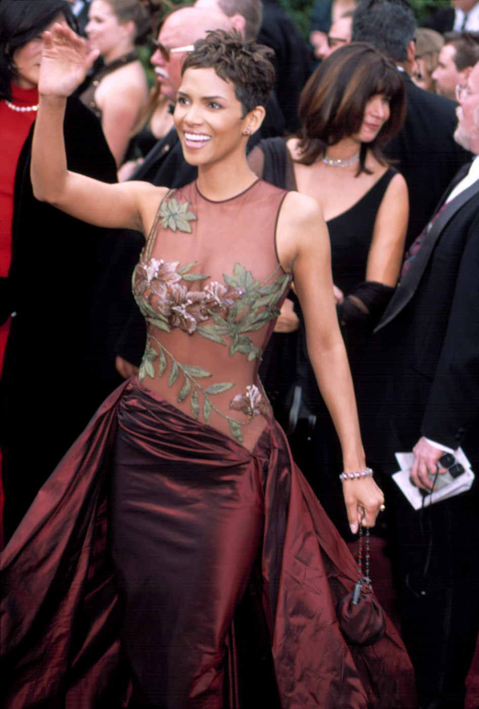 DEEP RED. Halle Berry pre-dates the naked dress trend in Elie Saab.