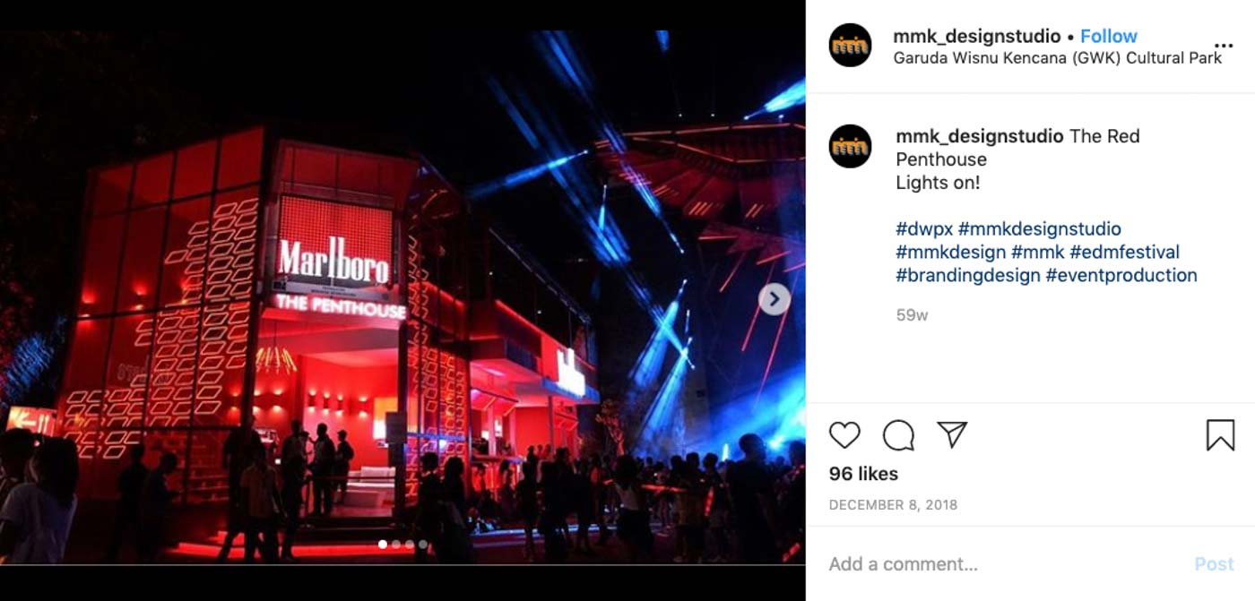 PENTHOUSE. The Marlboro Penthouse at the Djakarta Warehouse Project. Screengrab from mmk_designstudio on Instagram
