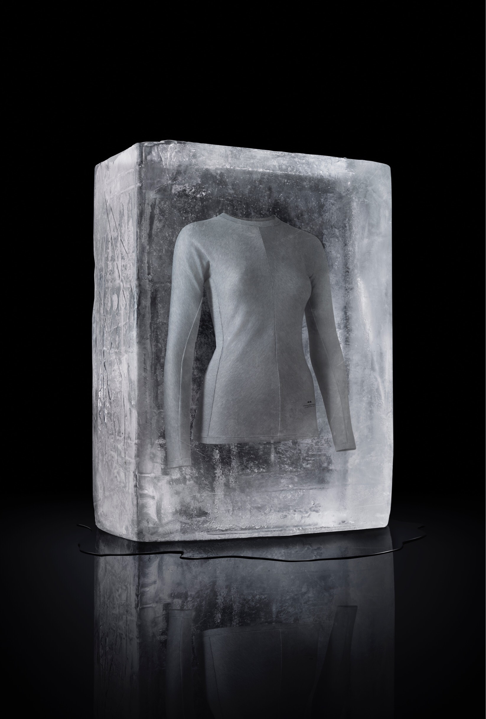 u2018WARMTH REIMAGINED.u2019 Promotional photo shows the collectionu2019s pieces inside an ice block, and according to the press release, u2018express[es] the thought that Heattech transcends fhe cold and is warm enough to melt away the ice it is encased in.u2019 Photo courtesy of Uniqlo