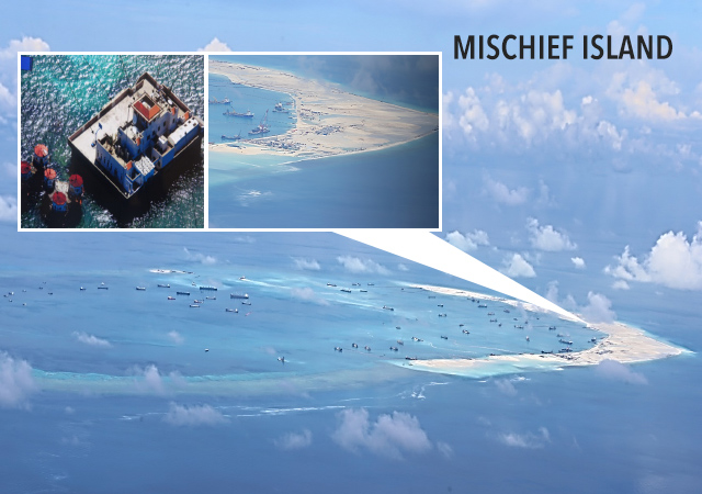 PHILIPPINE TERRITORY. The tribunal ruled that Mischief Reef, one of the features reclaimed by China, is part of the country's exclusive economic zone. 2015 file photo