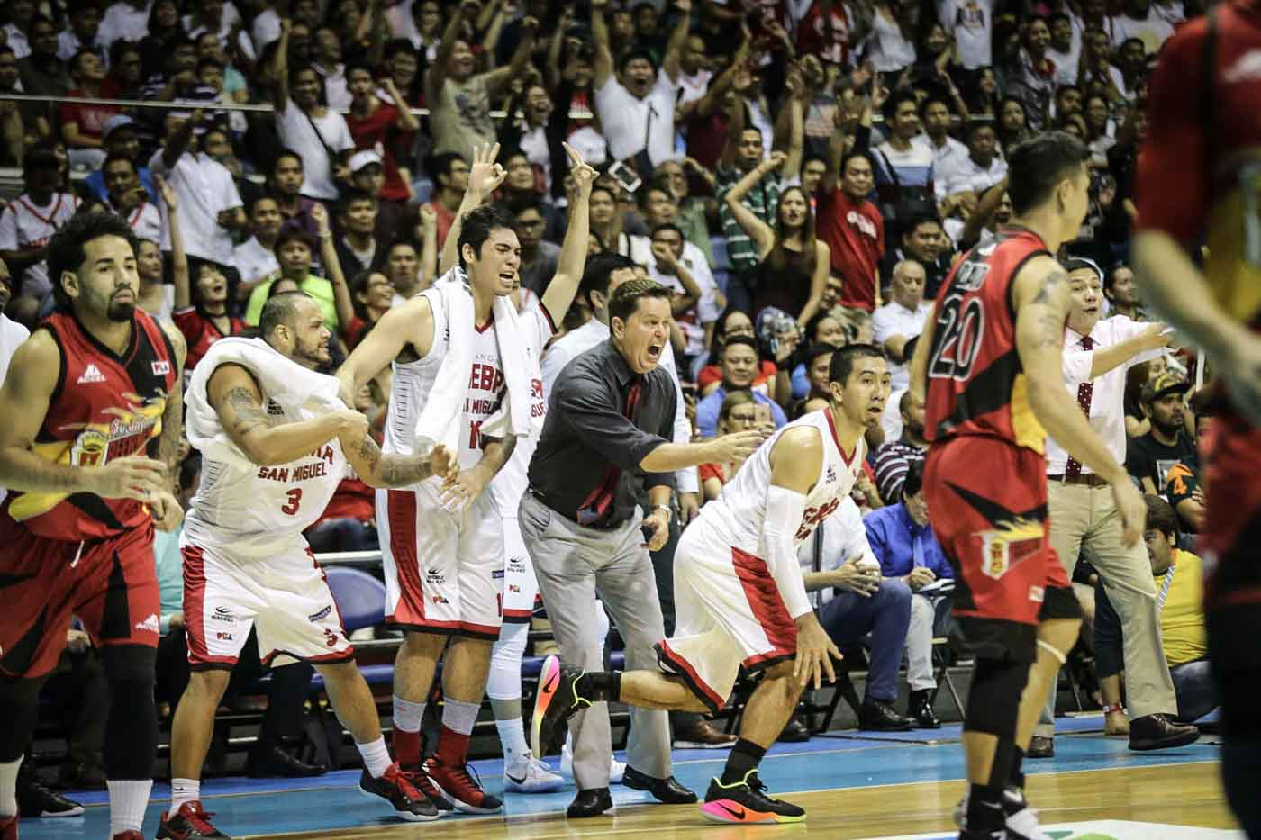 SUPPORT. The bench supporting the players on the court. Photo by Josh Albelda/Rappler