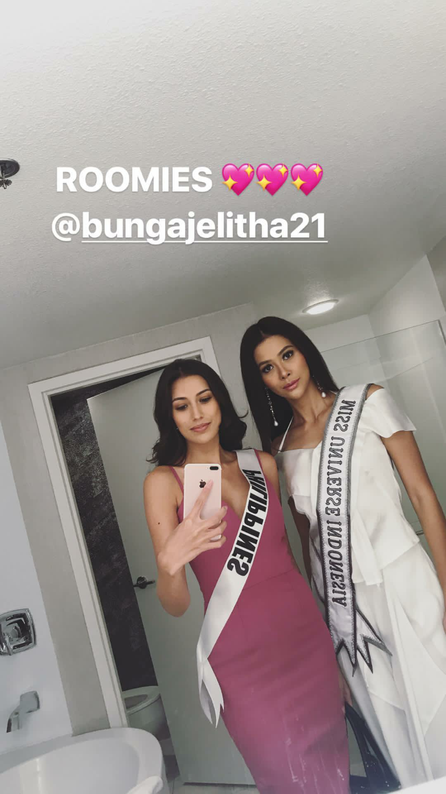 ROOMMATES. Rachel Peters and Indonesia's Bunga Jelitha are roommates in Miss Universe 2017. Screengrab from Instagram stories/@rachelpetersx