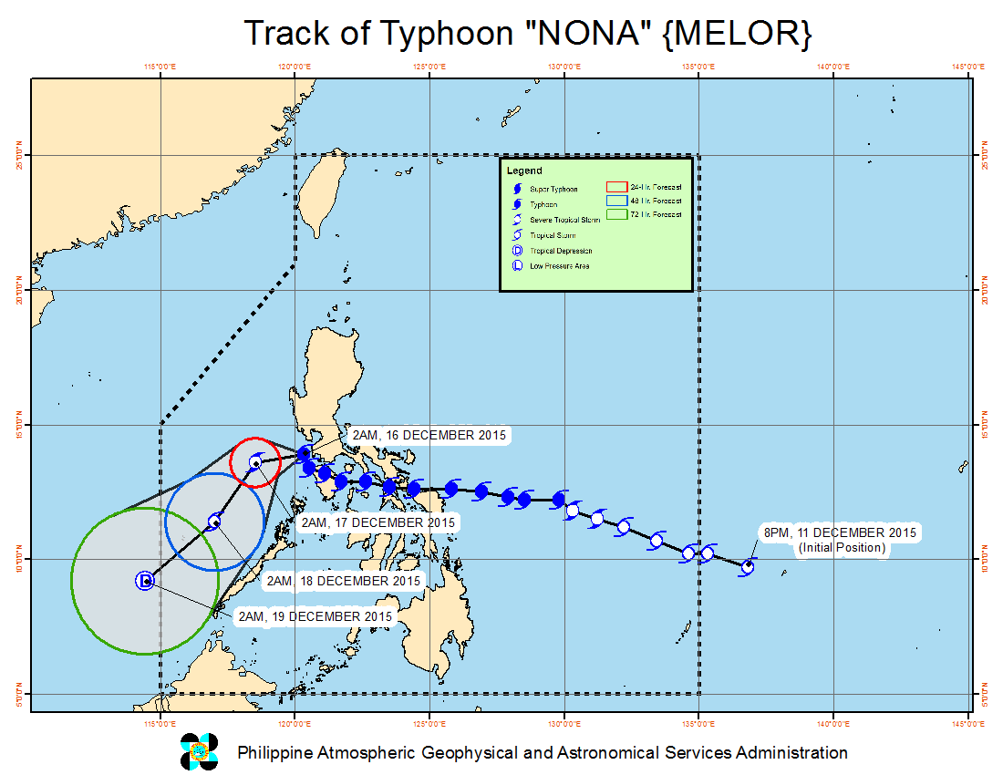 FORECAST TRACK. Here's the latest projected movement of Typhoon Nona. Image from PAGASA