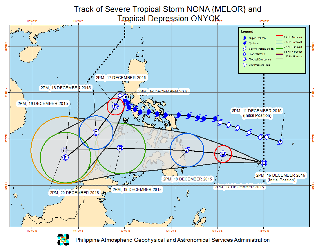 CYCLONES' PATHS. Here are the latest forecast tracks for both Nona and Onyok. Image from PAGASA