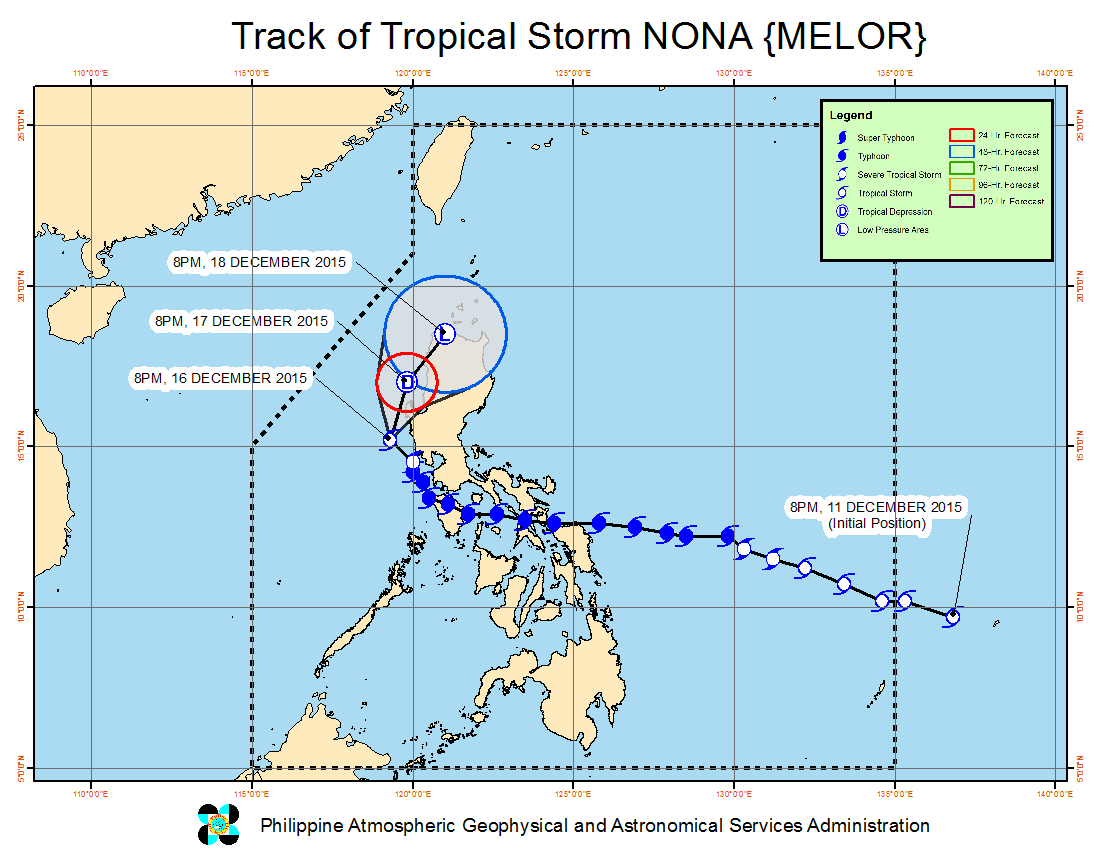 FORECAST TRACK. Here's the latest projected movement of Tropical Storm Nona. Image from PAGASA