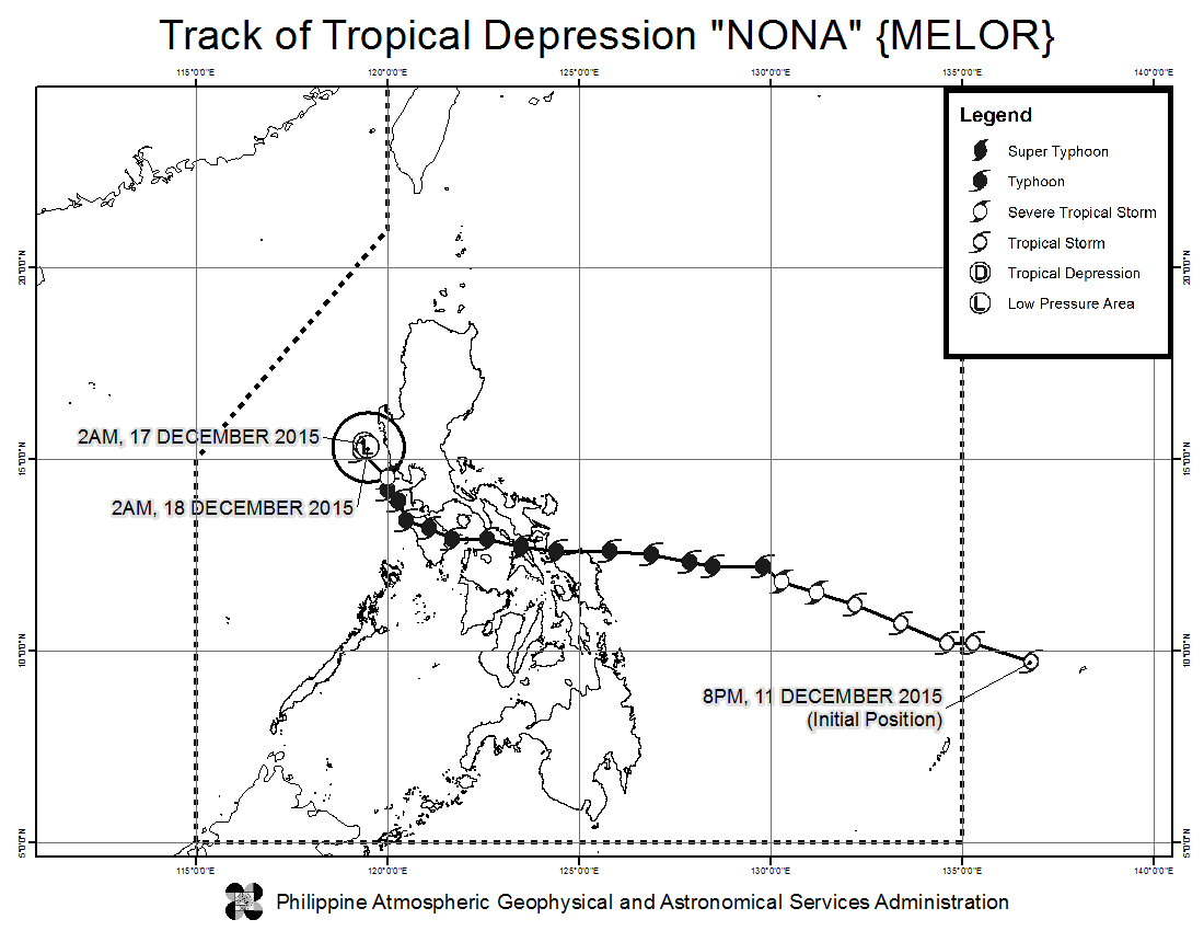 FORECAST TRACK. Here's the latest projected movement of Tropical Depression Nona. Image from PAGASA