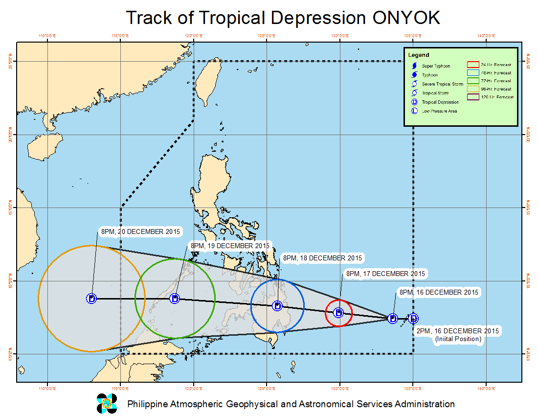 FORECAST TRACK. Here's the latest projected movement of Tropical Depression Onyok. Image from PAGASA