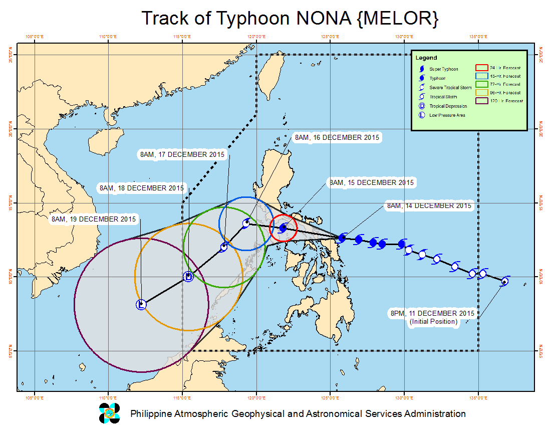 FORECAST TRACK. Typhoon Nona will make its second landfall in Sorsogon on December 14. Image from PAGASA