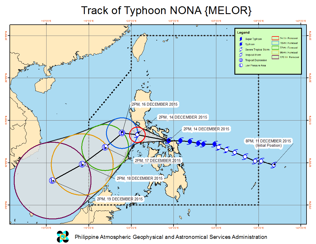 FORECAST TRACK. Typhoon Nona is set to cross Burias Island on Monday night, December 14. Image from PAGASA