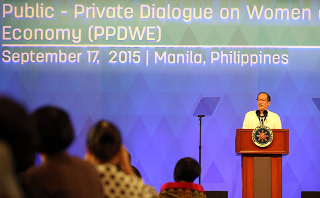 FOR WOMEN. President Benigno S. Aquino III delivers his speech during the Asia-Pacific Economic Cooperation (APEC) Women and the Economy 2015: Public-Private Dialogue on Women and the Economy at the Reception Hall on Thursday September 17, 2015. Photo by Joseph Vidal / Malacau00f1ang Photo Bureau