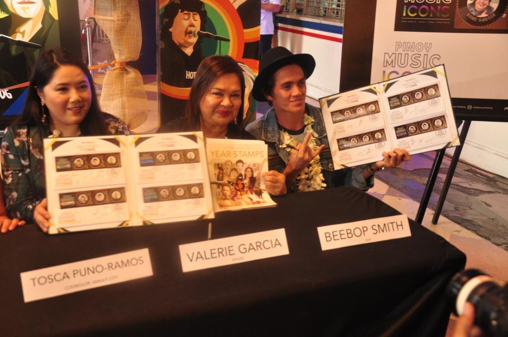 REPRESENTATIVES. (L-R). Councilor Tosca Puno-Ramos, daughter of Rico J. Puno; Valerie Garcia, wife of Rene Garcia; and Beebop Smith, son of Joey 'u0080u009cPepe'u0080u009d Smith at the opening of the Pinoy Music Icons Memorabilia Exhibit at the Manila Central Post Office Lobby in Liwasang Bonifacio. Photo from PHLPost