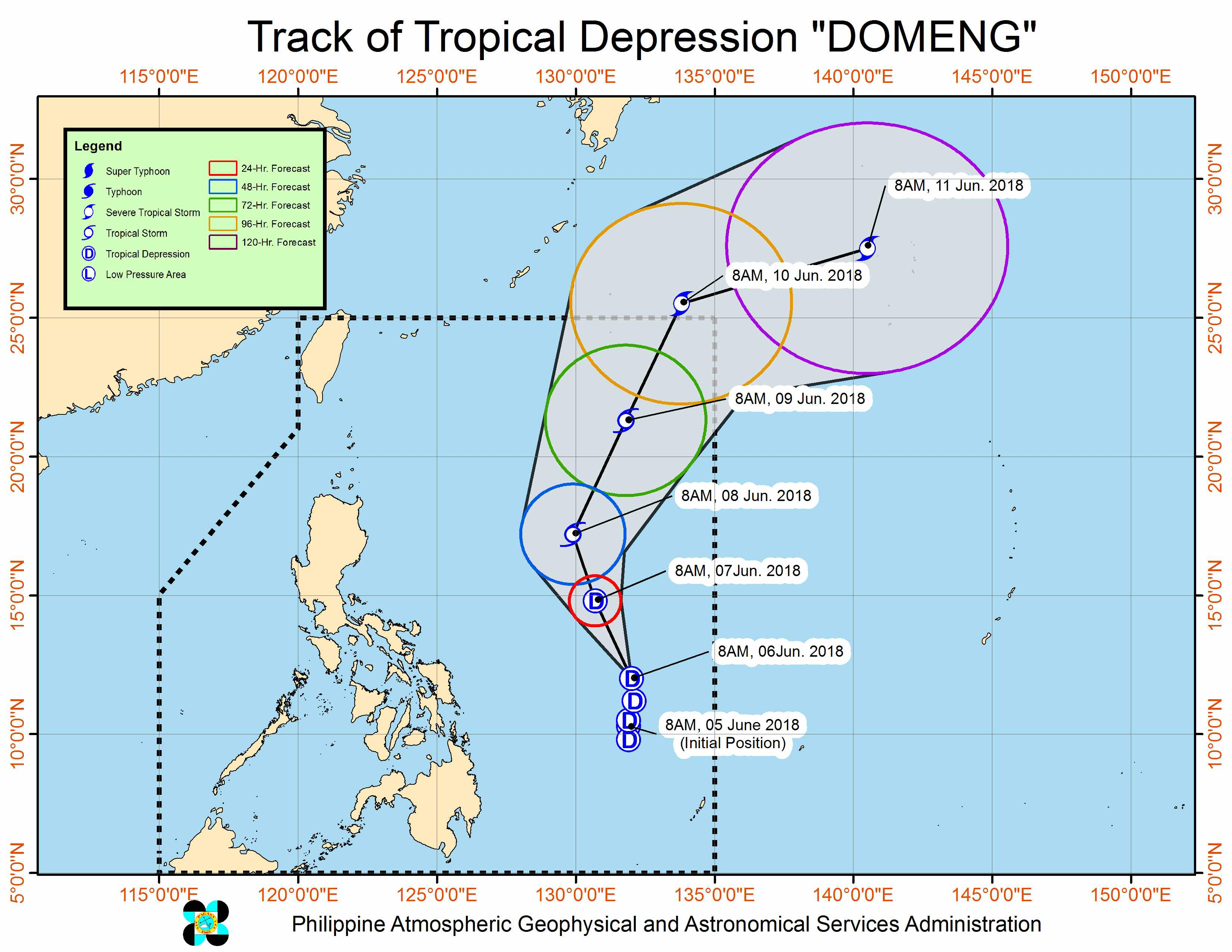 Forecast track of Tropical Depression Domeng as of June 6, 2018, 11 am. Image courtesy of PAGASA