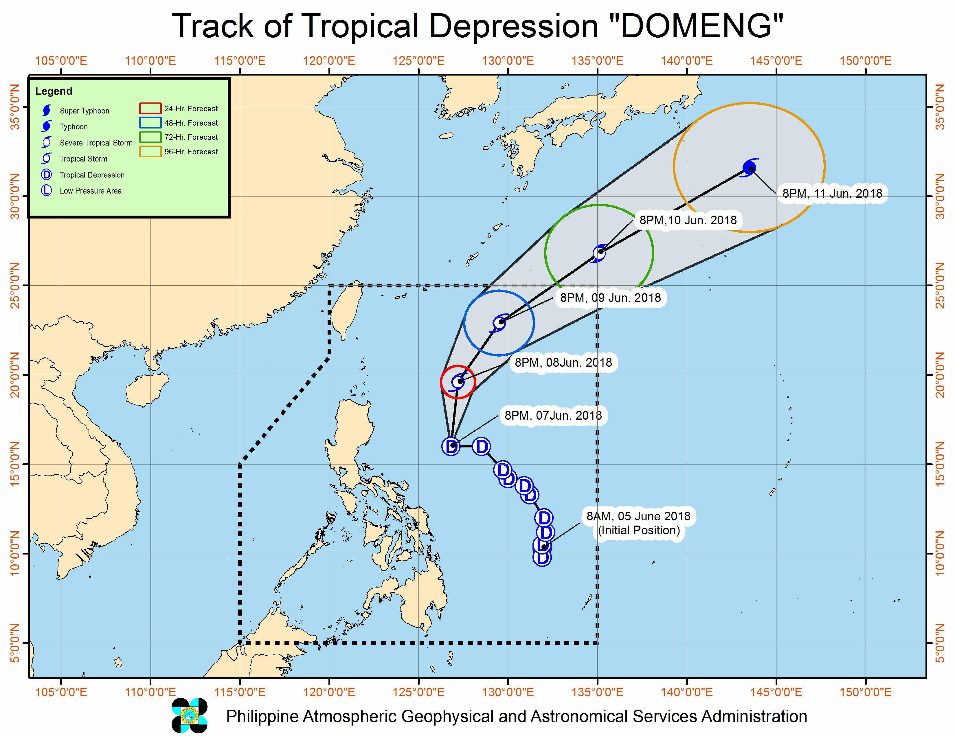 Forecast track of Tropical Depression Domeng as of June 7, 2018, 11 pm. Image courtesy of PAGASA