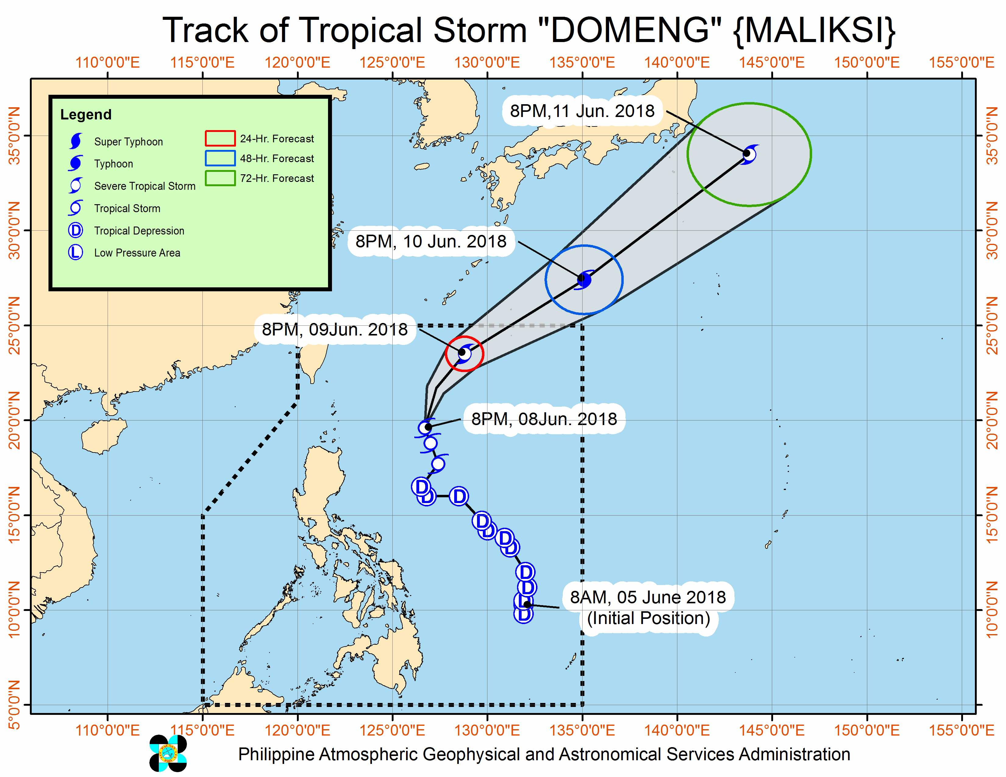 Forecast track of Tropical Storm Domeng (Maliksi) as of June 8, 2018, 11 pm. Image courtesy of PAGASA
