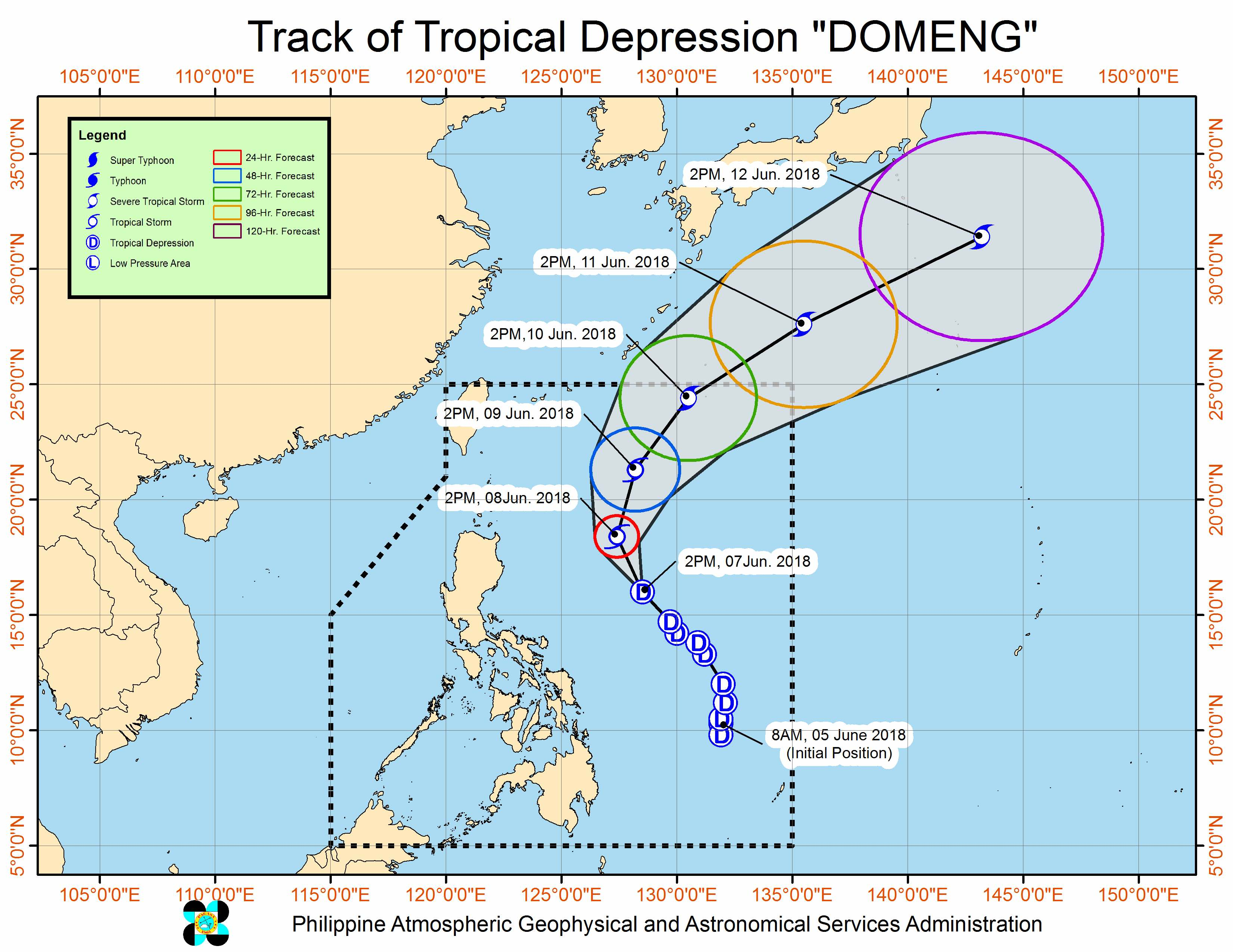 Forecast track of Tropical Depression Domeng as of June 7, 2018, 4 pm. Image courtesy of PAGASA
