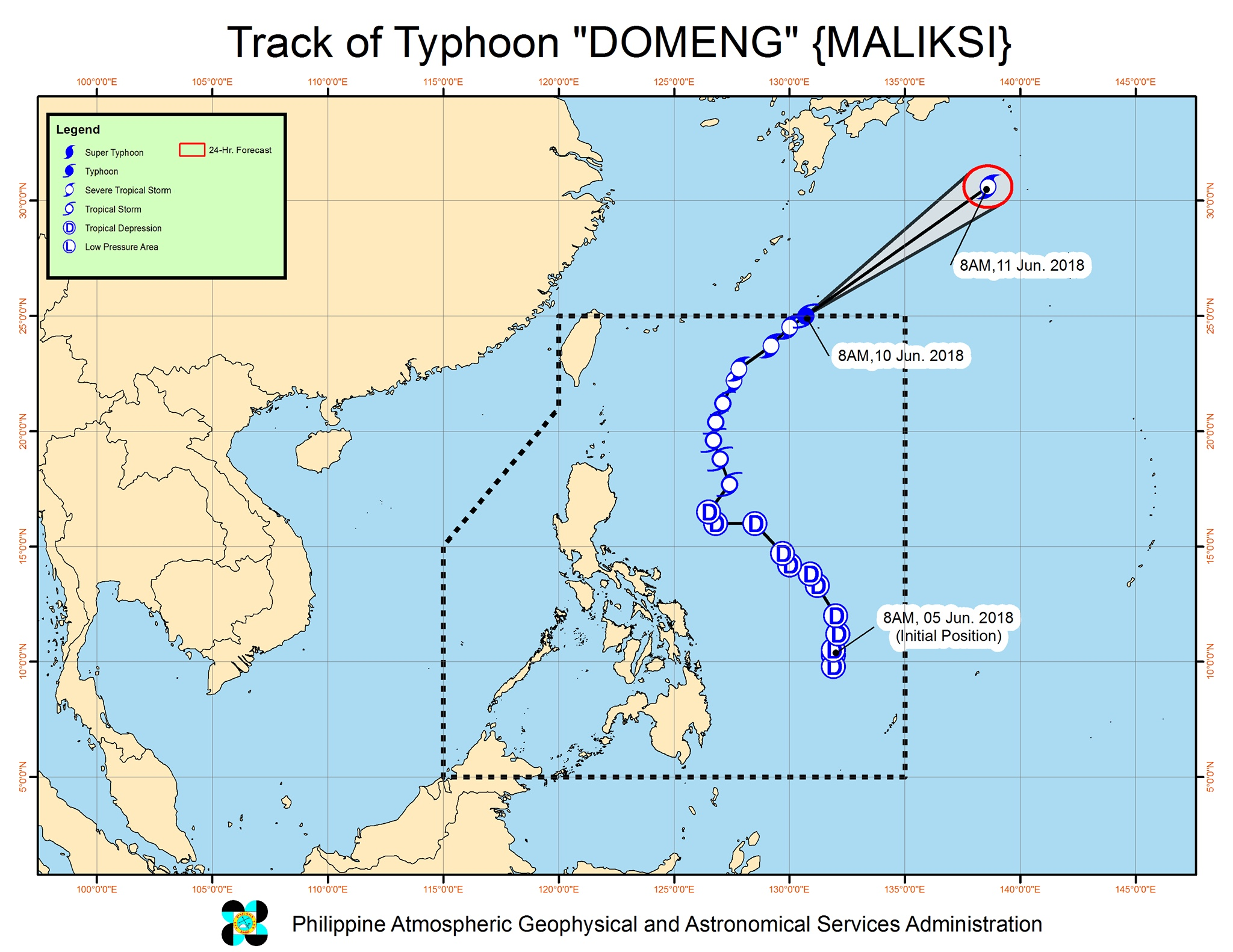 Forecast track of Typhoon Domeng (Maliksi) as of June 10, 2018, 9:30 am. Image courtesy of PAGASA