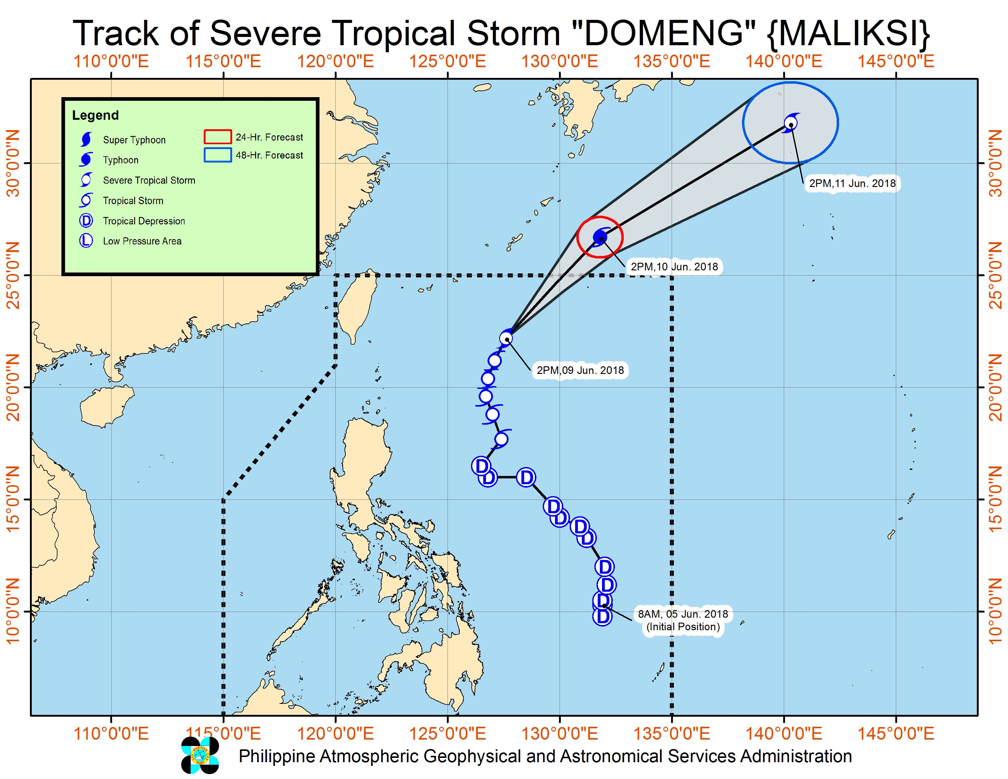 Forecast track of Severe Tropical Storm Domeng (Maliksi) as of June 9, 2018, 4 pm. Image courtesy of PAGASA
