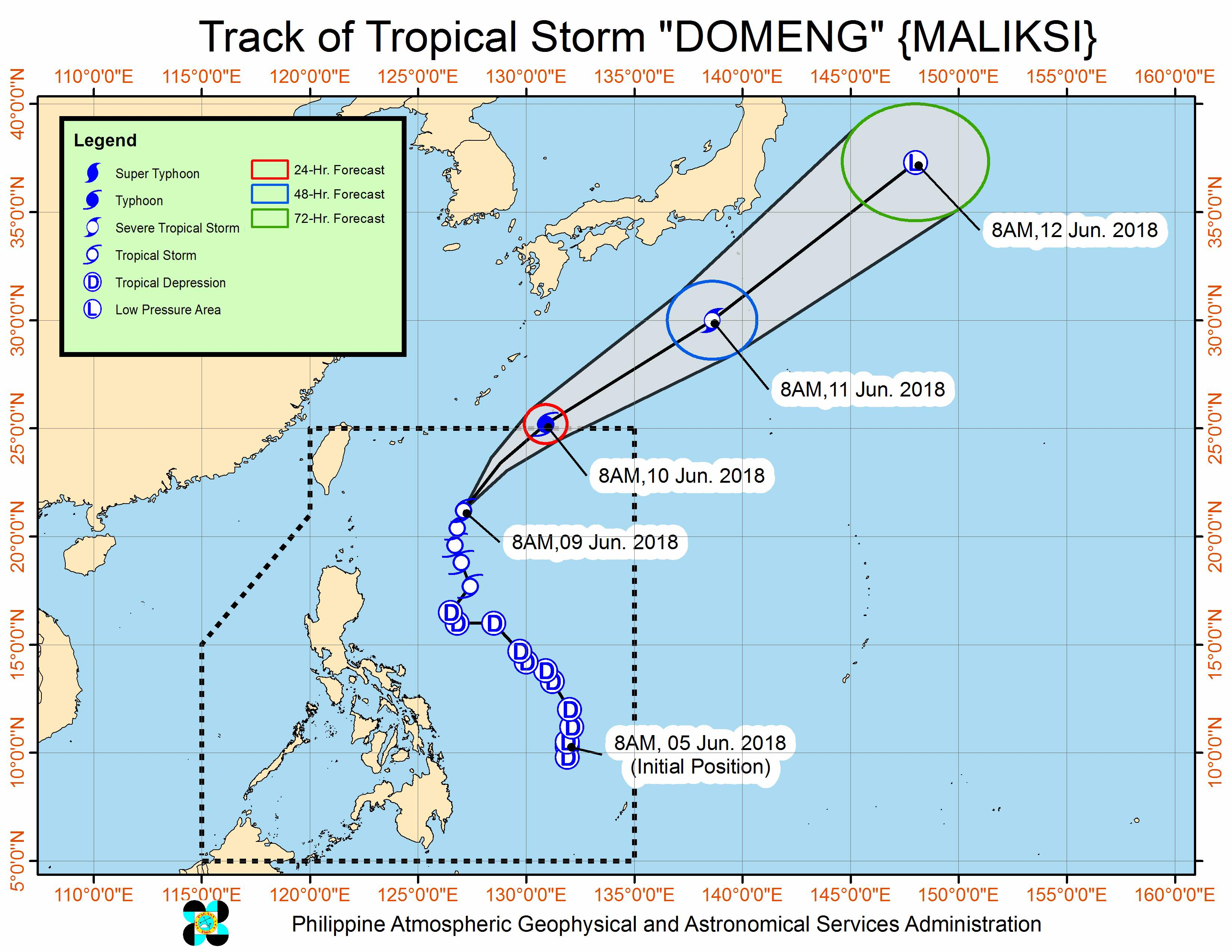 Forecast track of Tropical Storm Domeng (Maliksi) as of June 9, 2018, 11 am. Image courtesy of PAGASA