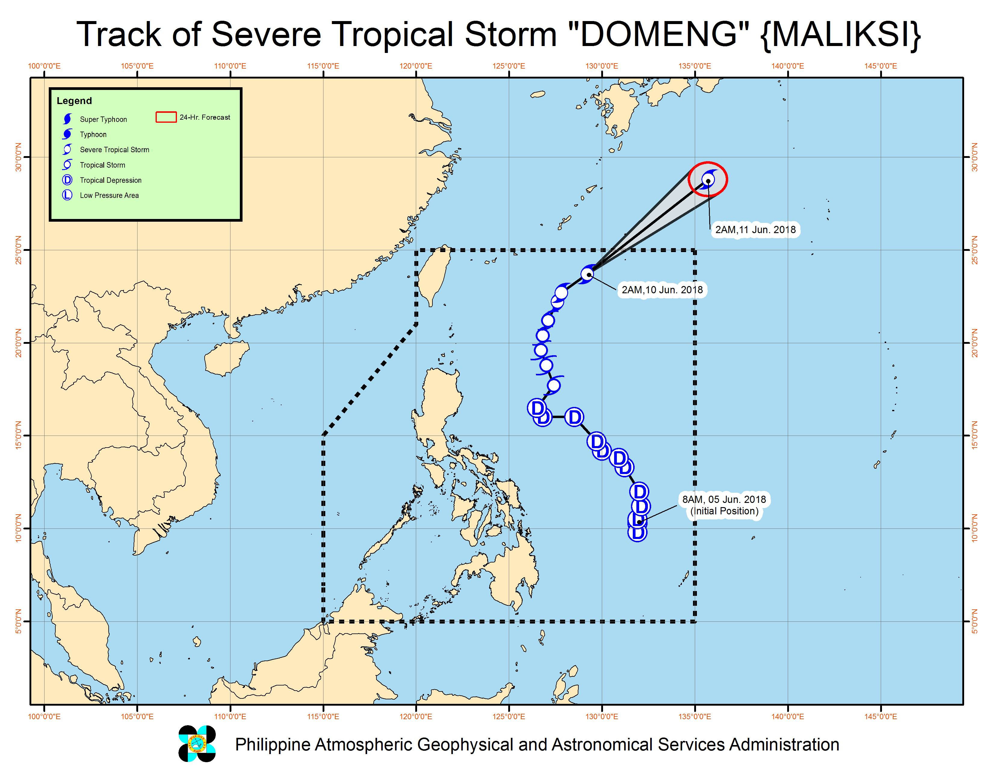 Forecast track of Severe Tropical Storm Domeng (Maliksi) as of June 10, 2018, 4 am. Image courtesy of PAGASA