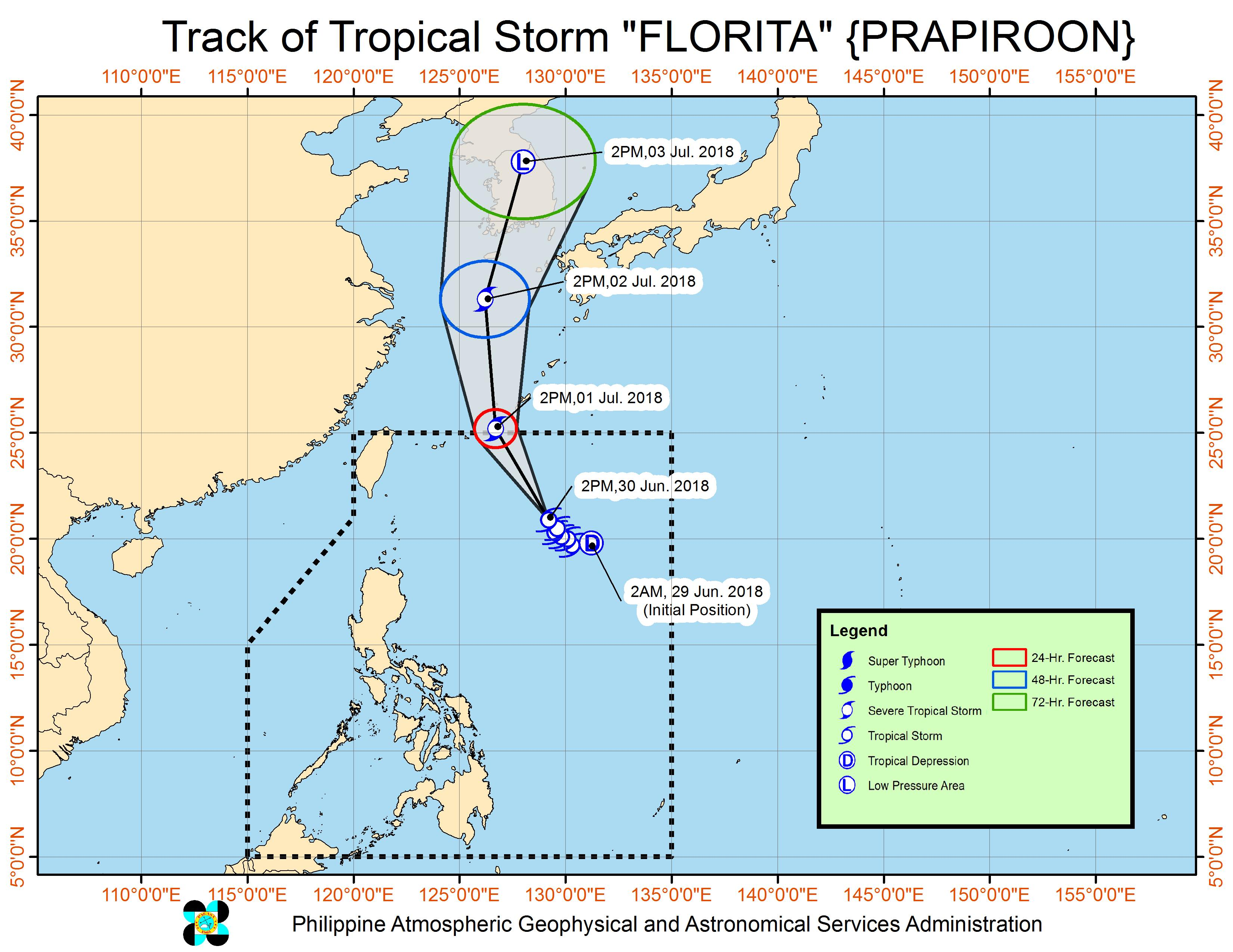 Forecast track of Tropical Storm Florita (Prapiroon) as of June 30, 2018, 4 pm. Image courtesy of PAGASA