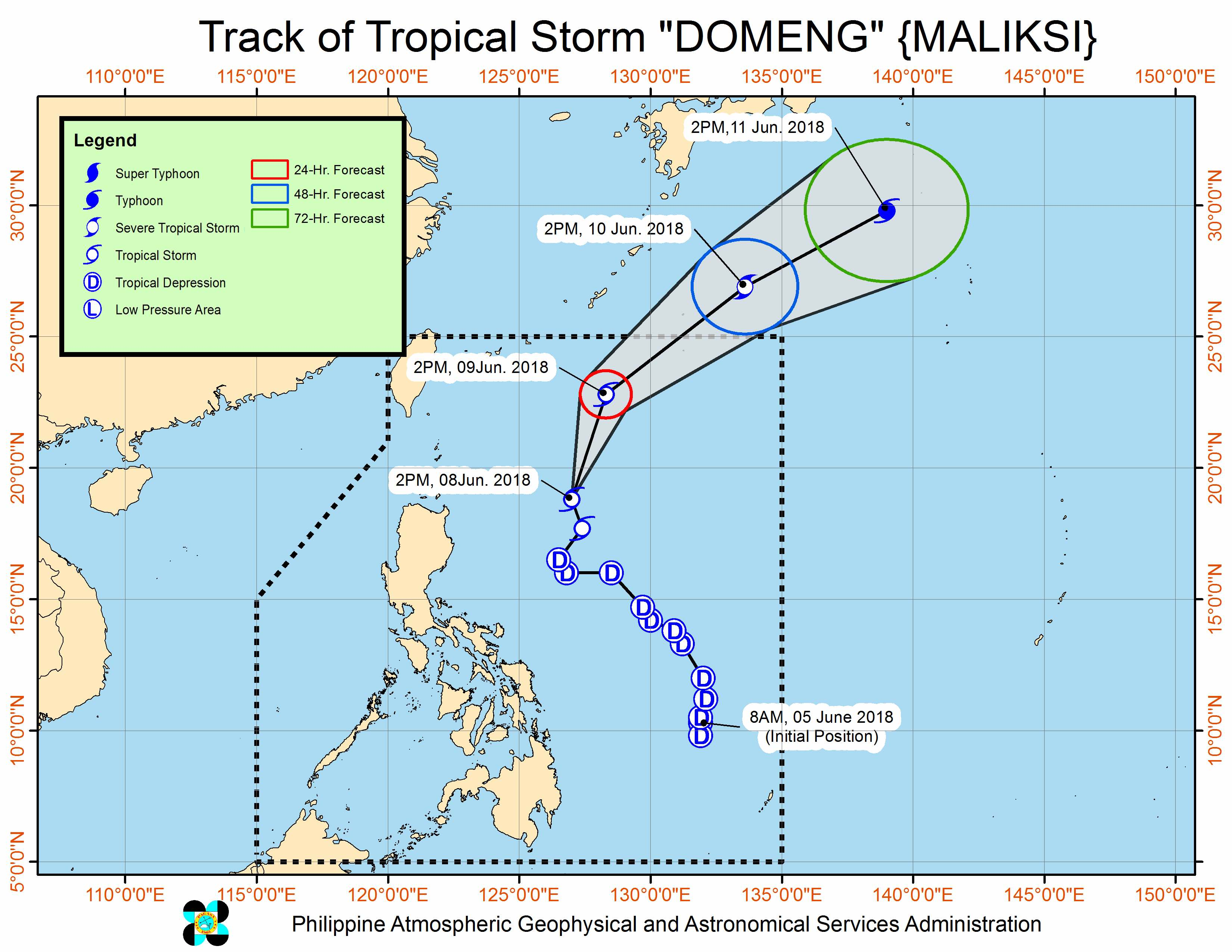 Forecast track of Tropical Storm Domeng (Maliksi) as of June 8, 2018, 5 pm. Image courtesy of PAGASA