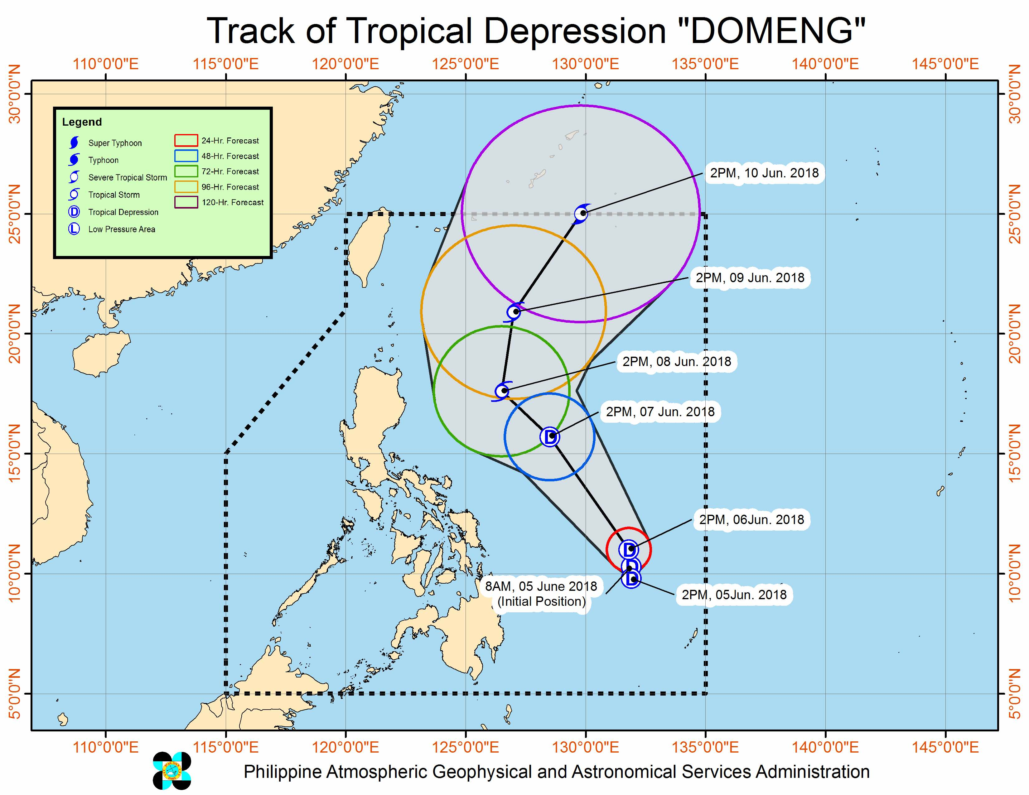 Forecast track of Tropical Depression Domeng as of June 5, 2018, 5 pm. Image courtesy of PAGASA