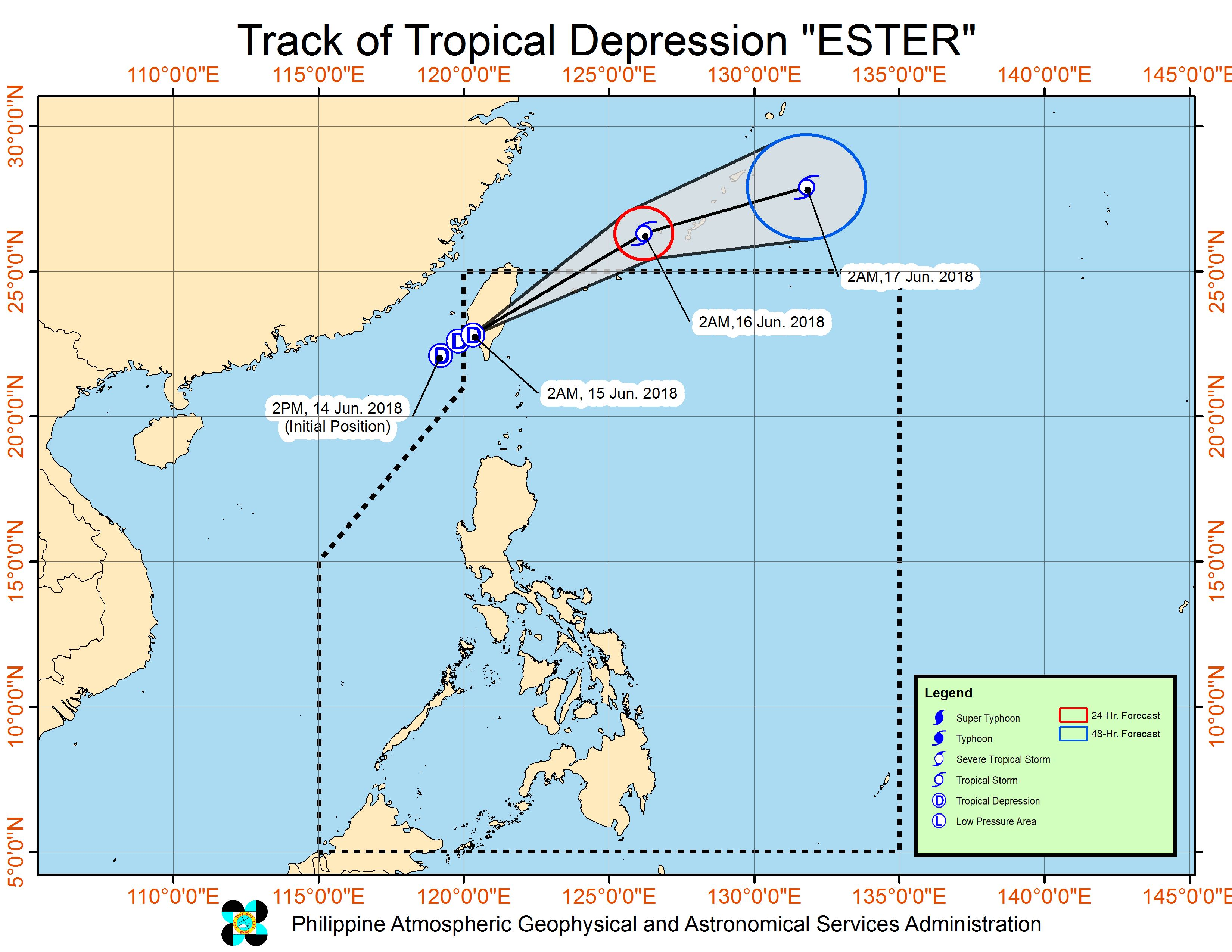 Forecast track of Tropical Depression Ester as of June 15, 2018, 5 am. Image courtesy of PAGASA