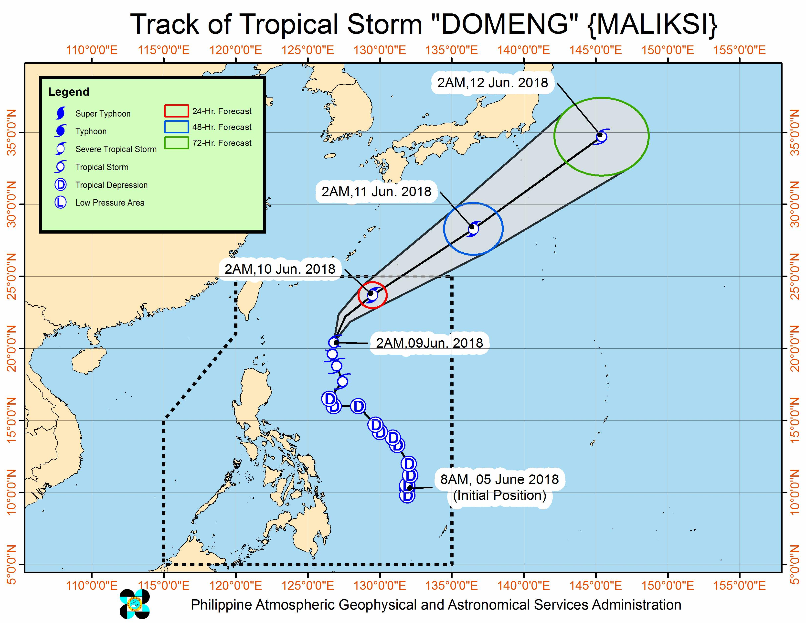 Forecast track of Tropical Storm Domeng (Maliksi) as of June 9, 2018, 4 am. Image courtesy of PAGASA