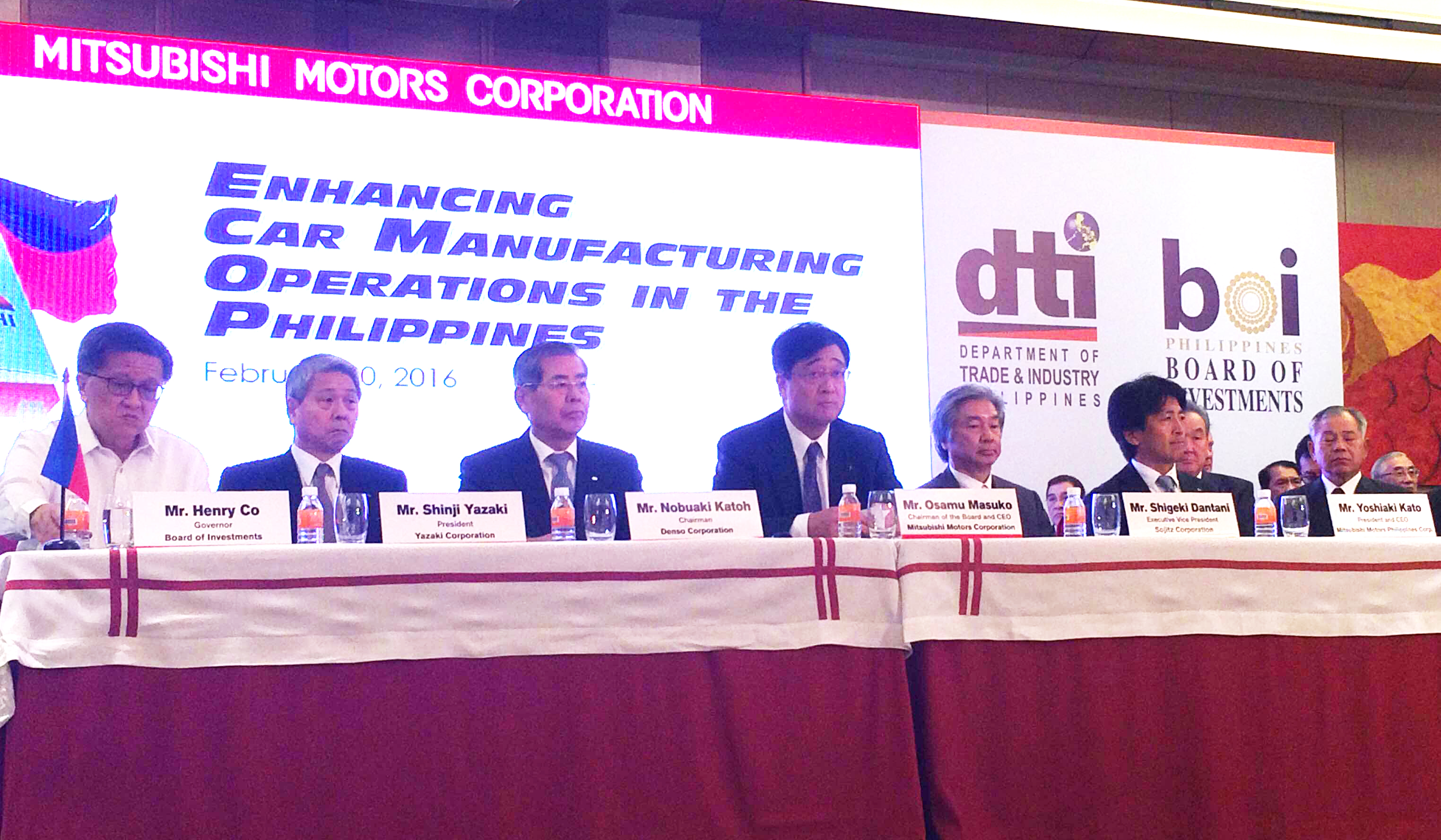 GOOD TIMING. Mitsubishi Corporation Chairman and CEO Osamu Masuko (4th from left) and BOI governor Henry Co (first from left) both think that the CARS program will kickstart the development of an automotive industry in the country. Photo by Chris Schnabel/ Rappler.