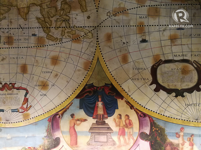 LOOK UP. A detail from the ceiling mural that greets guests at the hotelu00e2u0080u0099s main lobby.