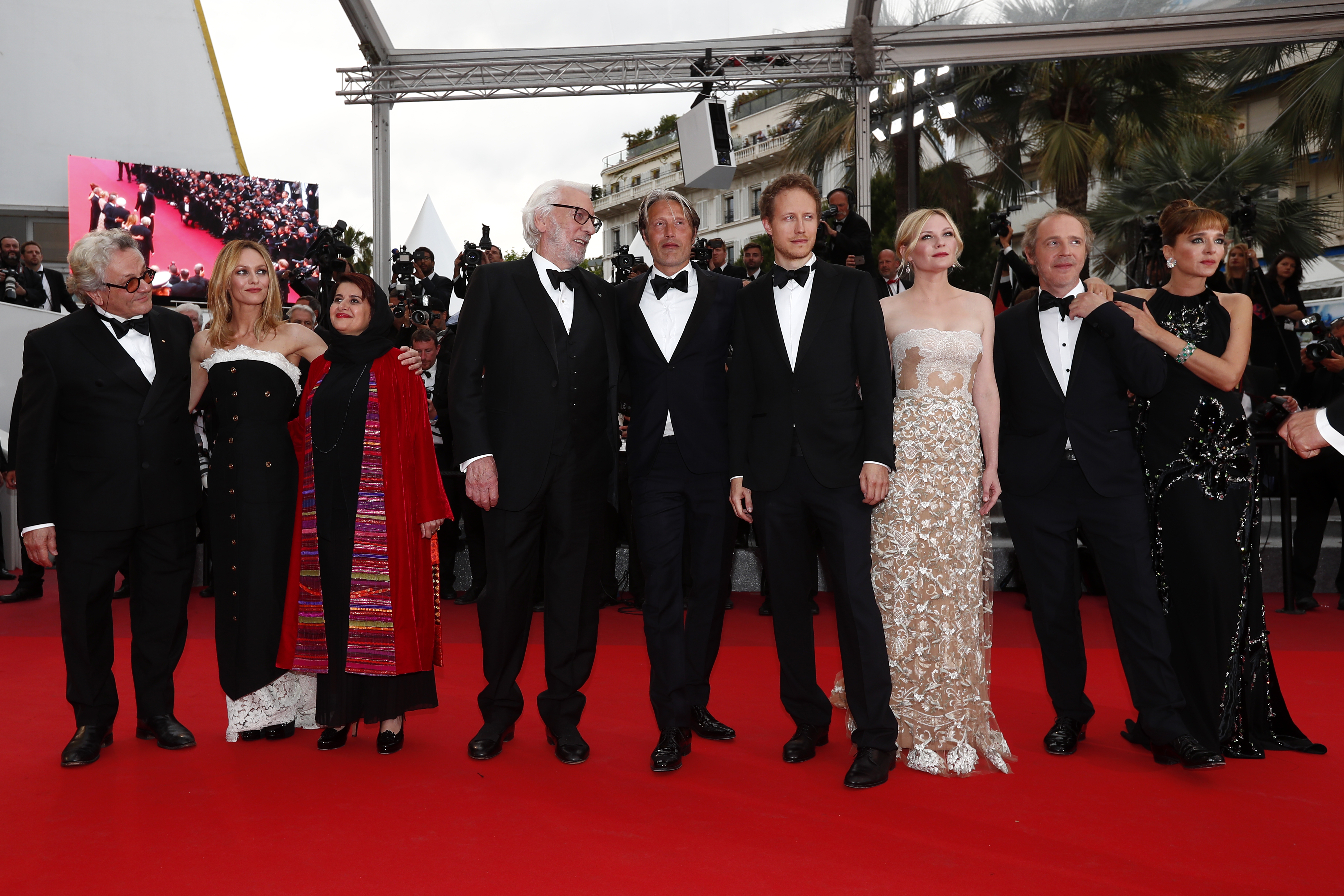 2016 Cannes Film Festival Jury members (Left to right): Australian director George Miller, French actress Vanessa Paradis, Iranian producer Katayoon Shahabi, Canadian actor Donald Sutherland, Danish actor Mads Mikkelsen, Hungarian director Laszlo Nemes, US actress Kirsten Dunst, French director Arnaud Desplechin and Italian actress Valeria Golino arrive for the Closing Awards Ceremony of the 69th annual Cannes Film Festival. Photo by Ian Langsdon/EPA