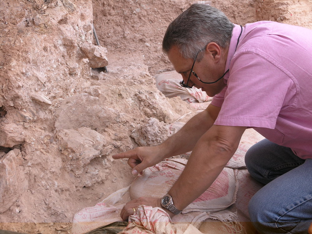 DISCOVERY. Dr. Jean-Jacques Hublin on first seeing the new finds at Jebel Irhoud (Morocco). He is pointing to the crushed human skull (Irhoud 10) whose orbits are visible just beyond his finger tip. Shannon McPherron, MPI EVA Leipzig