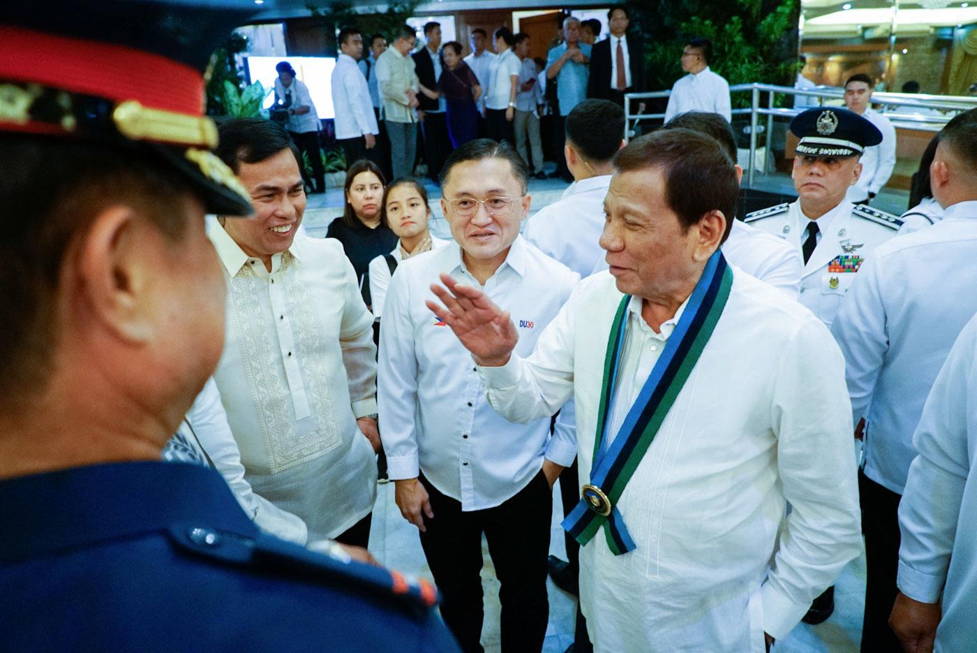 BIRTHDAY SURPRISE. President Rodrigo Duterte gifts Marine troops celebrating their birthdays in January with P50,000 each. Malacau00f1ang photo
