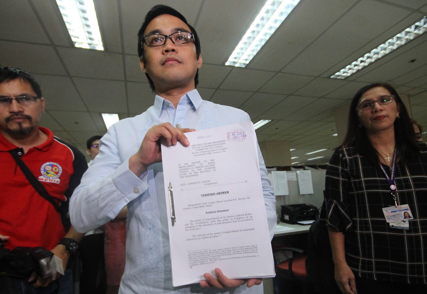 SERENO IMPEACHMENT. Laywer Justin Mendoza files Sereno's verified answer before the House of Representatives. Photo by Darren Langit/Rappler