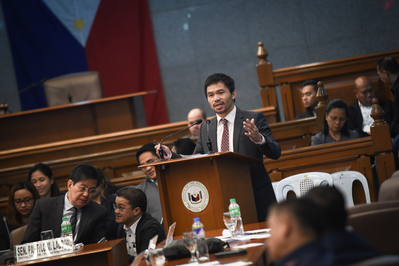 MEETING. Senators confirm meeting on February 26, 2017 at Senator Manny Pacquiao's house to plan the ouster of the Liberal Party senators from their key posts. File photo by LeAnne Jazul/Rappler