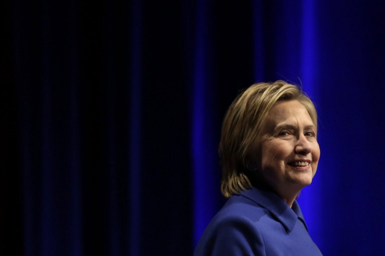 In this file photo, Hillary Clinton speaks at the Children's Defense Fund Beat the Odds Celebration at the Newseum in Washington on November 16, 2016. Yuri Gripas/AFP