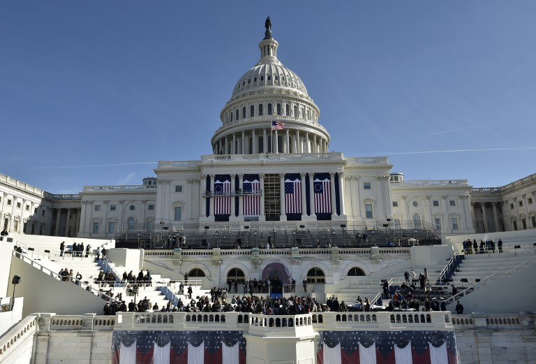 A general view shows the West side of the US Capitol during a rehearsal for the inauguration of US President-elect Donald Trump on January 15, 2017 in Washington, DC. Mandel Ngan/AFP