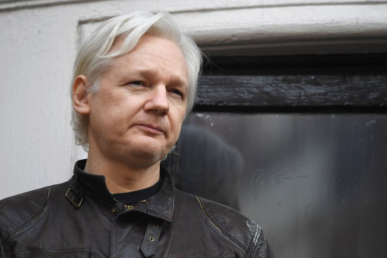 LONDON JAIL. In this file photo, Wikileaks founder Julian Assange speaks on the balcony of the Embassy of Ecuador in London on May 19, 2017. File photo by Justin Tallis/AFP