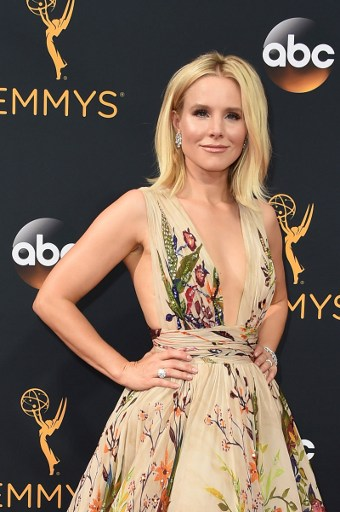 Kristen Bell arrives for the 68th Emmy Awards on September 18, 2016 at the Microsoft Theatre in Los Angeles. Photo by   Robyn Beck /AFP