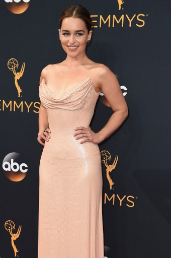 Actress in a Drama Series 'Game of Thrones' Emilia Clarke arrives for the 68th Emmy Awards on September 18, 2016 at the Microsoft Theatre in Los Angeles. Photo by   Robyn Beck /AFP