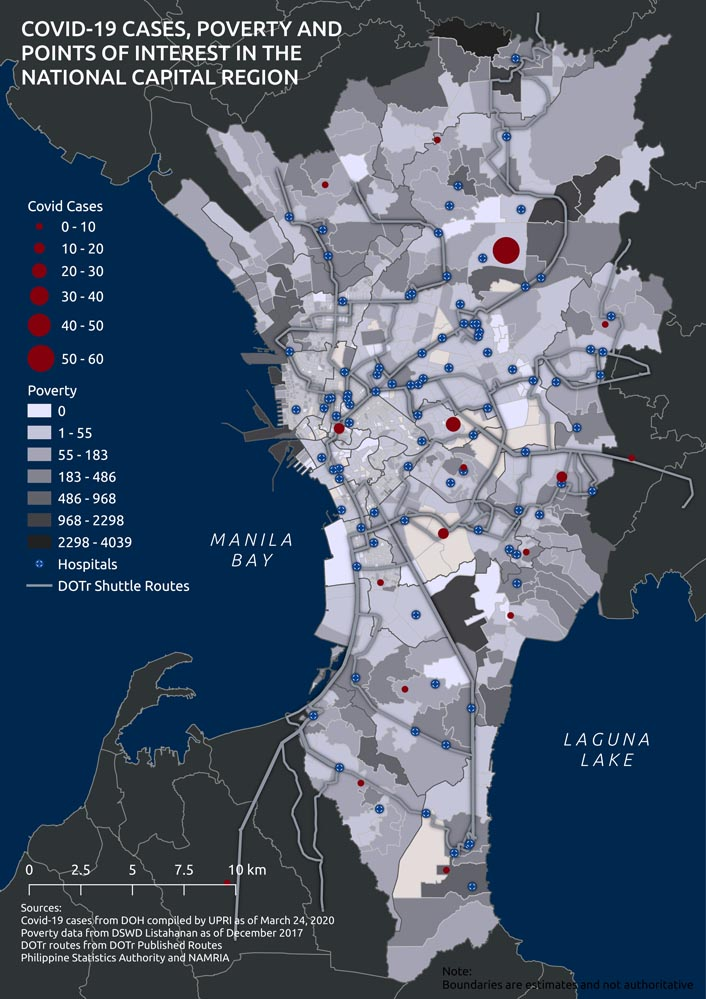 Map by JR Dizon/Mapadatos(UrbanisMO/PCIJu2019s note: The poverty numbers in the map above refer to the number of poor households in each barangay that have been identified through the National Household Targeting System for Poverty Reduction, the governmentu2019s primary database of who and where the cityu2019s poorest and neediest are. The numbers indicate families that have been targeted by the Department of Social Welfare and Development for social protection programs such as conditional cash transfers. These families are the poorest of the poor but their numbers do not include the homeless and the so-called u201cnear-poor,u201d who are equally vulnerable.)