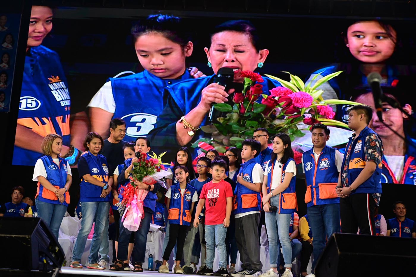 FOR MOTHER'S DAY. Elenita Binay cries after receiving flowers from her children, grandchildren, and in-laws.