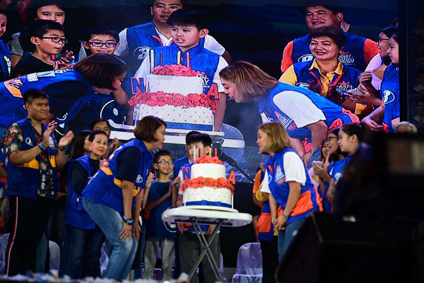 BIRTHDAY GIRLS. Reelectionist Senator Nancy Binay and Anne Binay blow their candles on their cake a few hours before they celebrate their birthday on May 12, 2019.