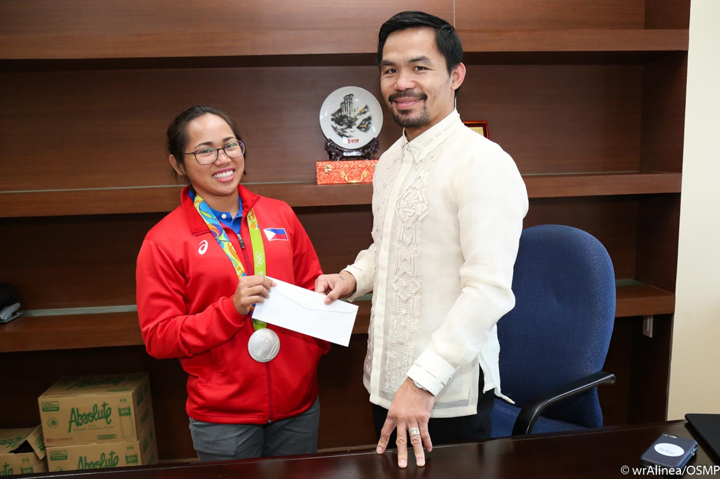 Diaz receives a cash incentive from Pacquiao. The amount was undisclosed. She had previously received a total of P7.5 already. Photo by Wendell Alinea