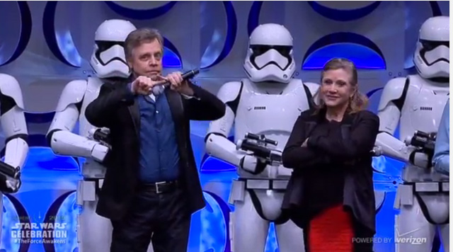Carrie Fisher with Mark Hamill during the 'Star Wars' Celebration. Screengrab from YouTube