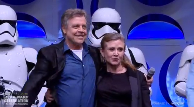 Mark Hamill and Carrie Fisher during the 'Star Wars' Celebration. Screengrab from YouTube